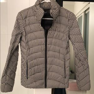 Uniqlo black and white gingham down jacket